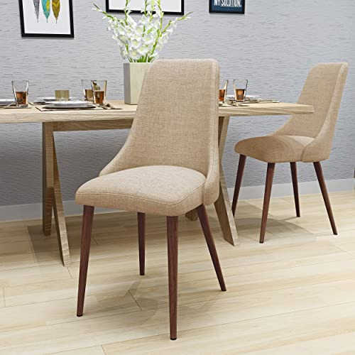 Raphelle Mid Century Wheat Fabric Dining Chair