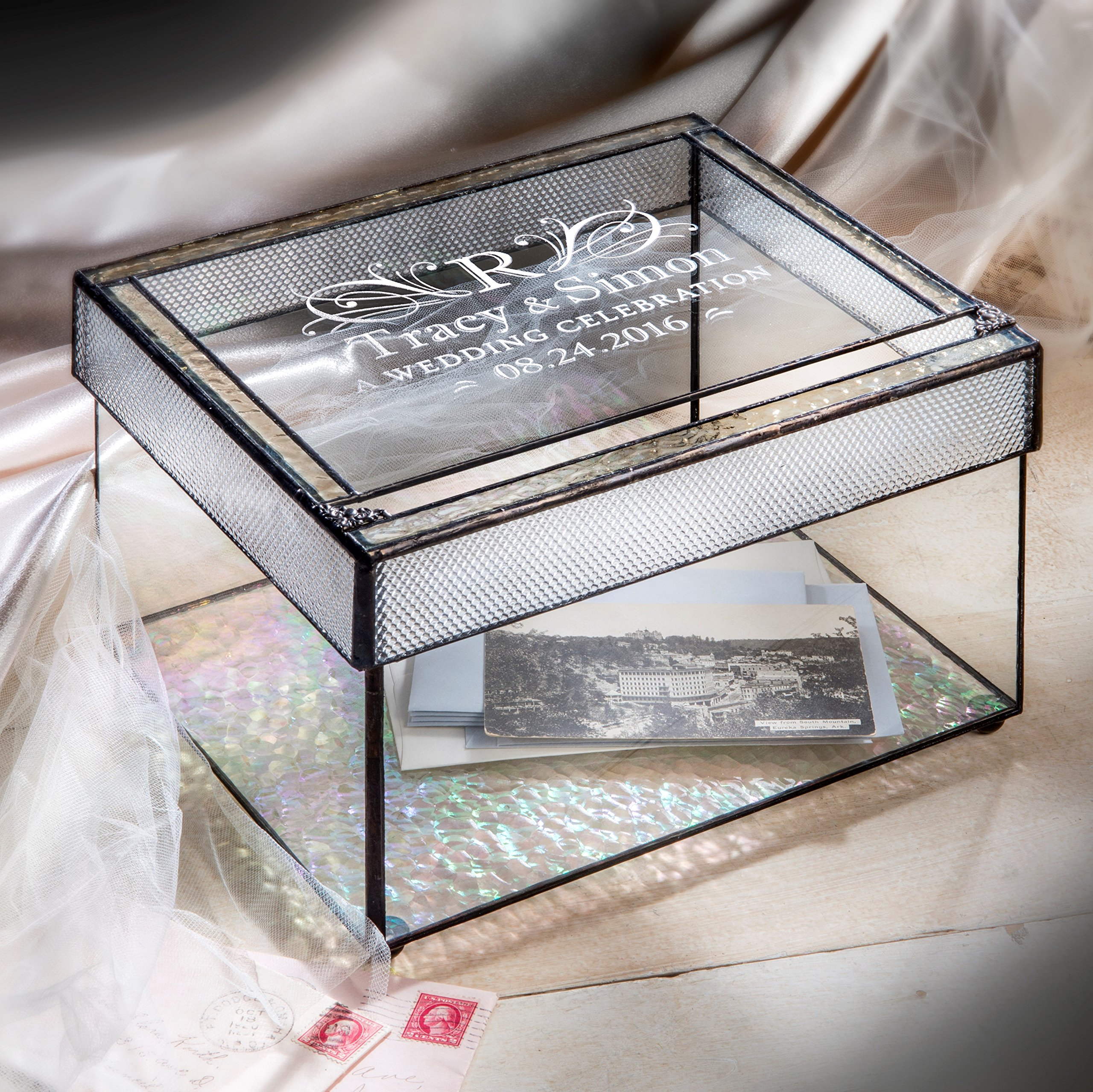 J Devlin Box 841 Personalized Wedding Card Box Engraved Glass Card Holder Reception Decor Keepsake Display by J Devlin Glass Art