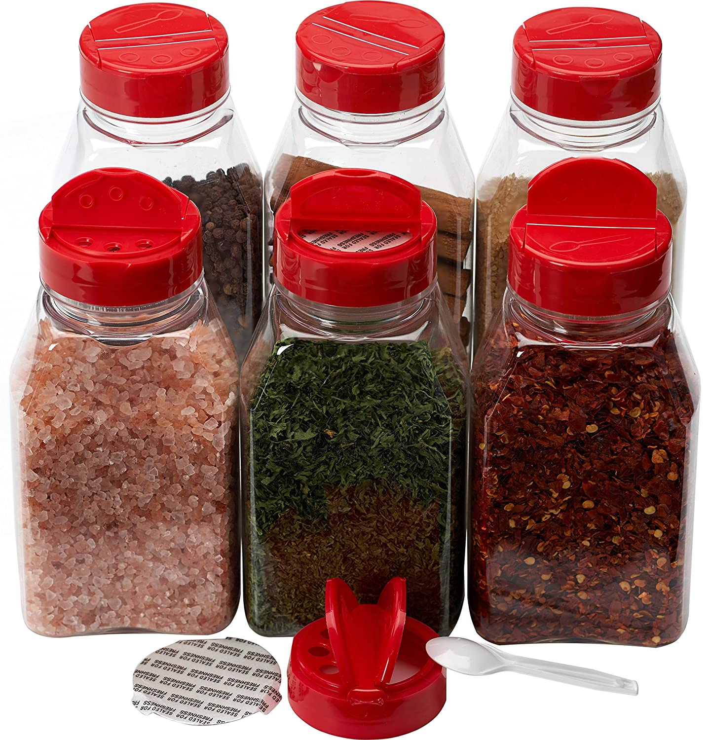 Spice Jars - 16 oz. clear plastic spice containers with shaker red two sided flip tops lids shaking sifter spoon caps - 6 sets - plus 2 mini spoons and 6 White indicating labels COMIN18JU014199