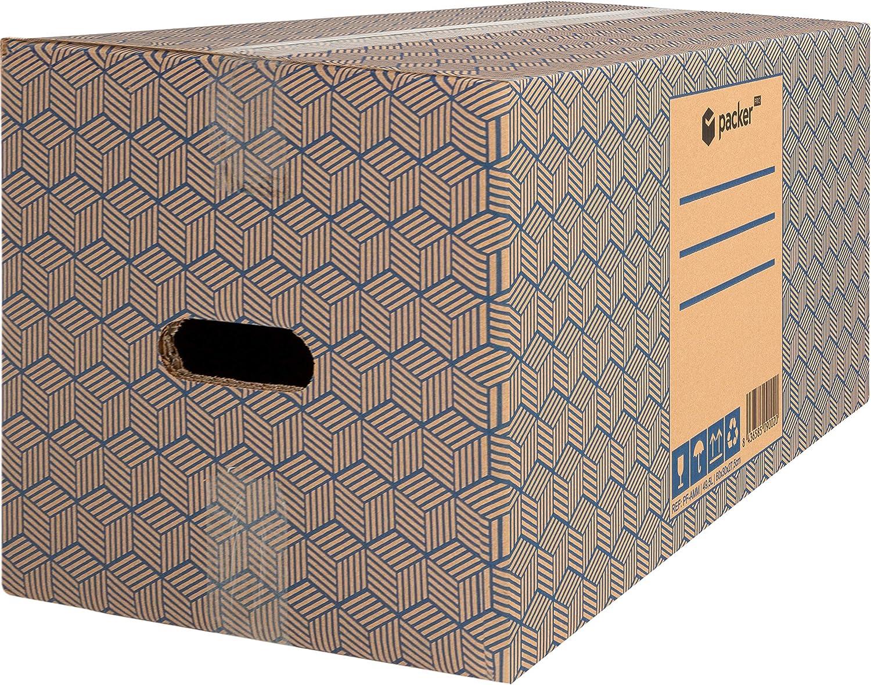 Packer PRO - Pack 12 Cajas Carton para Mudanzas y Almacenaje 600x300x275mm Ultra Resistentes con Asas, 100% ECO Box