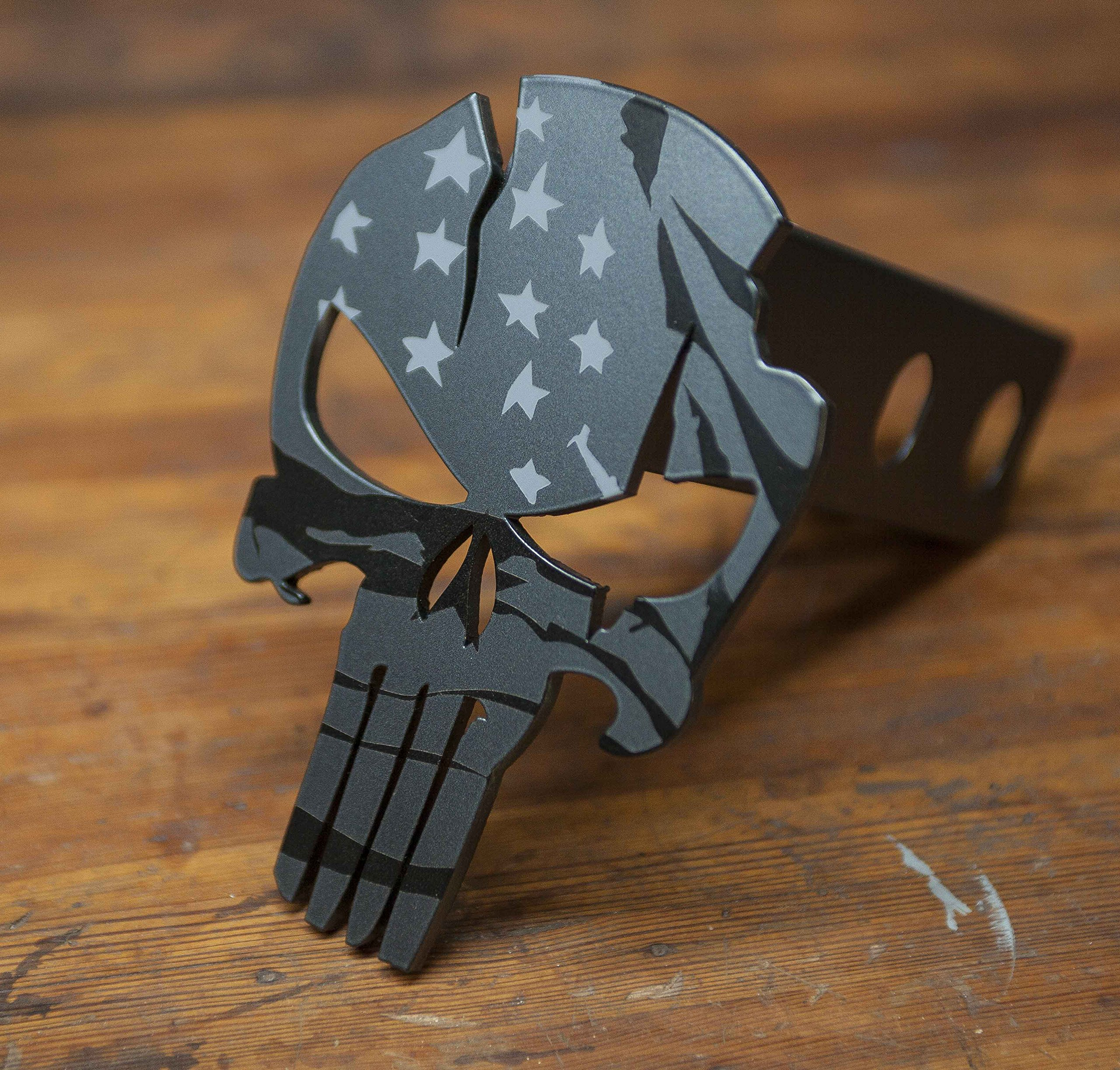 Subdued American Warrior - Punisher Trailer Hitch Cover by Kempter Kustoms