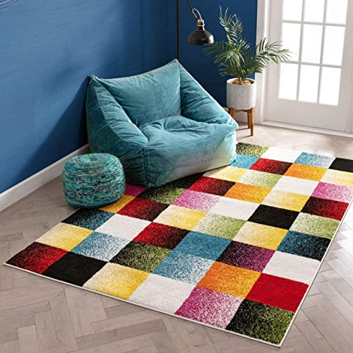 Well Woven Exuberance Multicolor Checkered Boxes Geometric 8×10 7'10″ x 9'10″ Area Rug