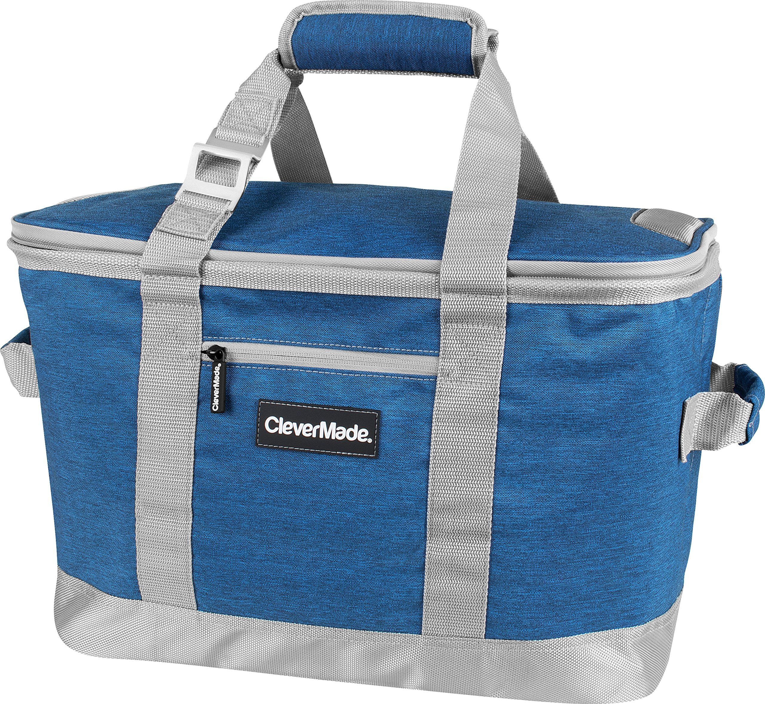 CleverMade Collapsible Cooler Bag: Insulated Leakproof 50 Can Soft Sided Portable Beverage Tote with Bottle Opener & Storage Pockets, Blue/Grey by CleverMade