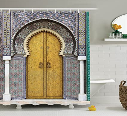 Ambesonne Arabian Decor Collection, Golden Door Of Royal Palace In Fes  Morocco Vintage Moroccan Artwork