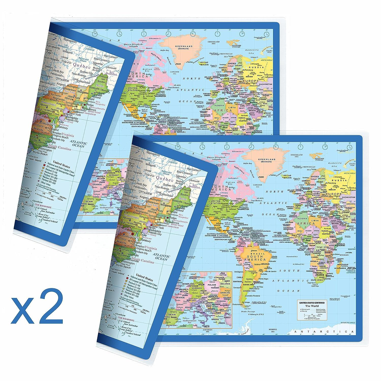 World Map 50 States.Amazon Com Newspaceview Classic United States Usa And World Desk