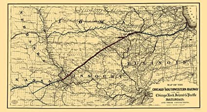 c92658618470c Amazon.com: Old Railroad Map - Chicago and Southwestern Railway ...
