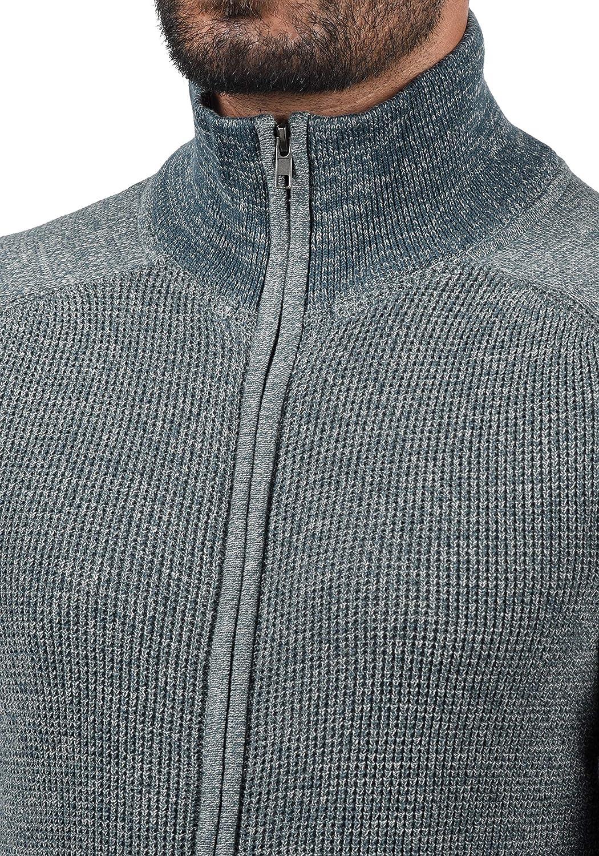 BLEND Ganwolf Cardigan Maglione Maglia con Bottoni da Uomo con Collo Alto Stampa in Cotone 100/%
