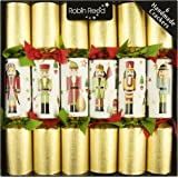 "6 x 12"" Traditional English Christmas Crackers - NEW - Glitter Nutcracker contents"