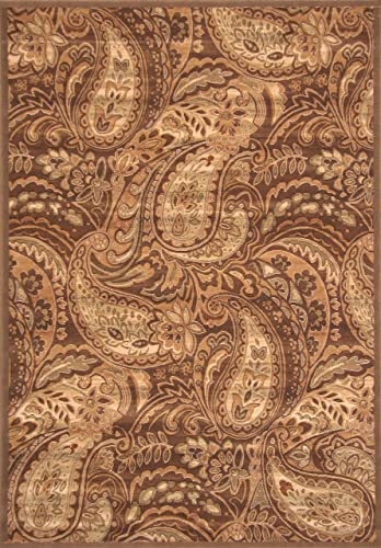 SI Area Rugs Essentials Machine Made Area Rug, 5-Feet 3-Inch by 7-Feet 6-Inch, Brown Ivory Sage