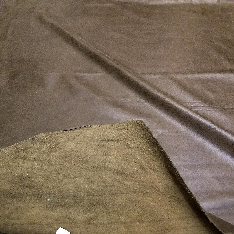 Soft 2.5-3.0 Nappa Soft Upholstery Handbag Cowhide Genuine Cow Leather Hide Skin Olive 19-23 sq.ft NAT Leathers Dark Army Brown Khaki