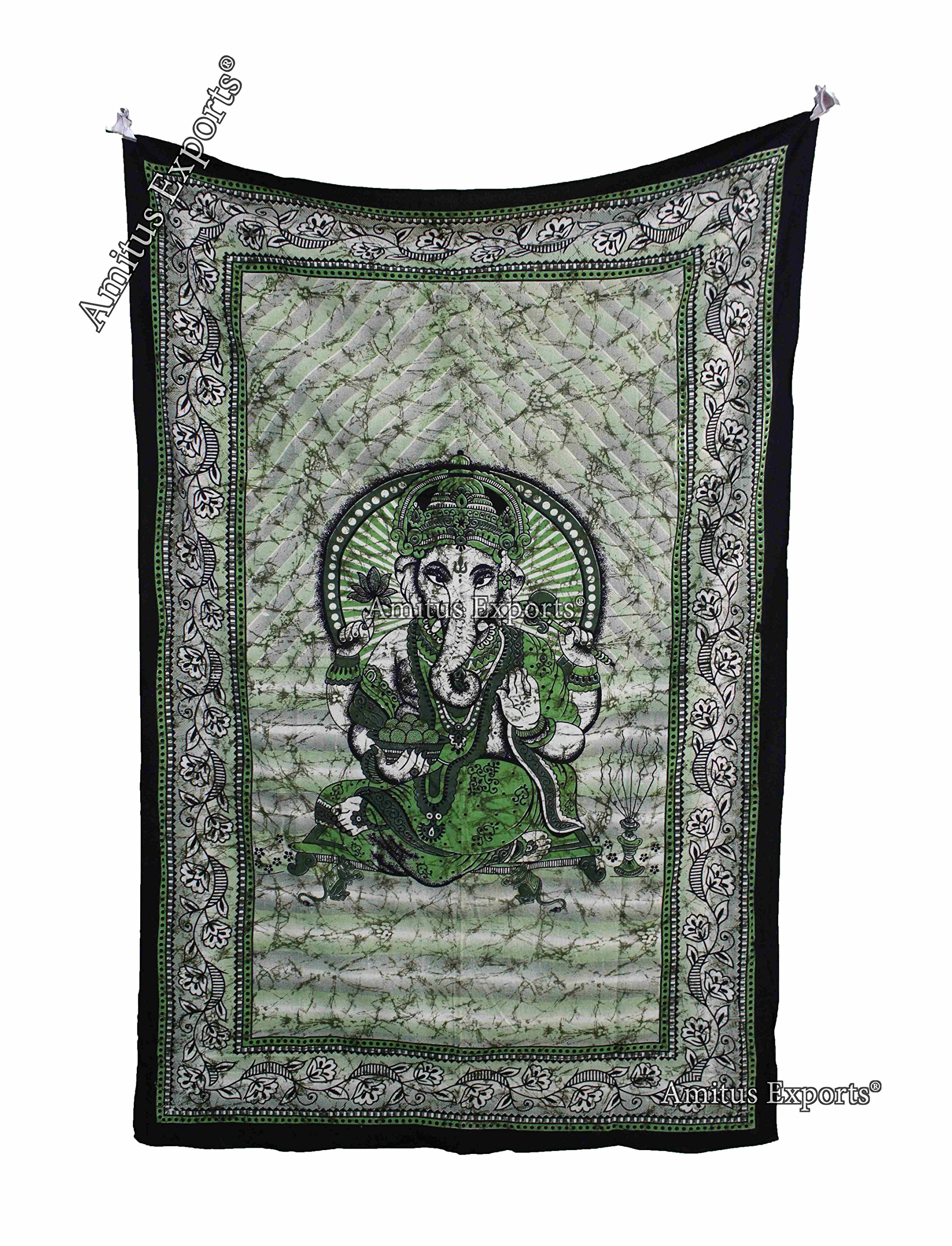 Amitus Exports TM Premium Quality 1 X Batik Lord Ganesha 81''X54''(Approx.) Inches Green Multi Color Twin Size Cotton Fabric Tapestry Hippy Indian Mandala Throws (Handmade In India)