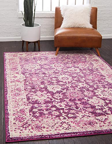 Unique Loom Penrose Collection Vintage Traditional Distressed Purple Area Rug 3' 3 x 5' 3