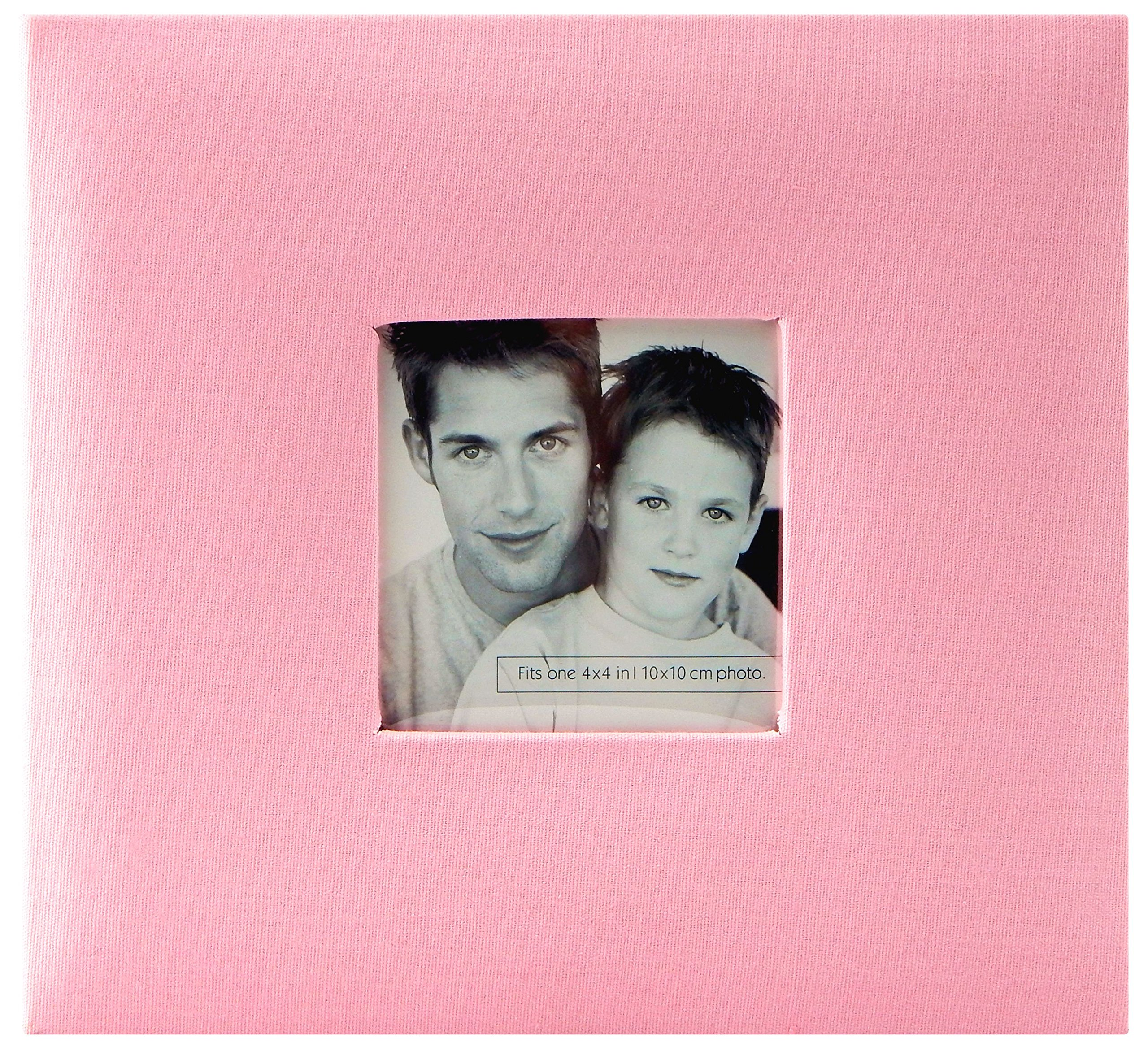 MCS MBI 9.6x8.5 Inch Fashion Fabric Scrapbook Album with 8x8 Inch Pages with Photo Opening, Pink (802815)