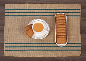 Ramanta Home Burlap Placemats with Printed Stripes, for Farmhouse Rustic Décor- 14x19 Natural/Teal Set of 4
