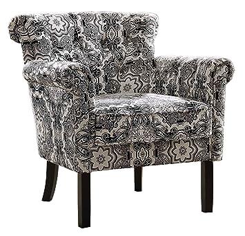 Stupendous Homelegance Barlowe Medallion Print Fabric Accent Chair Beige Theyellowbook Wood Chair Design Ideas Theyellowbookinfo