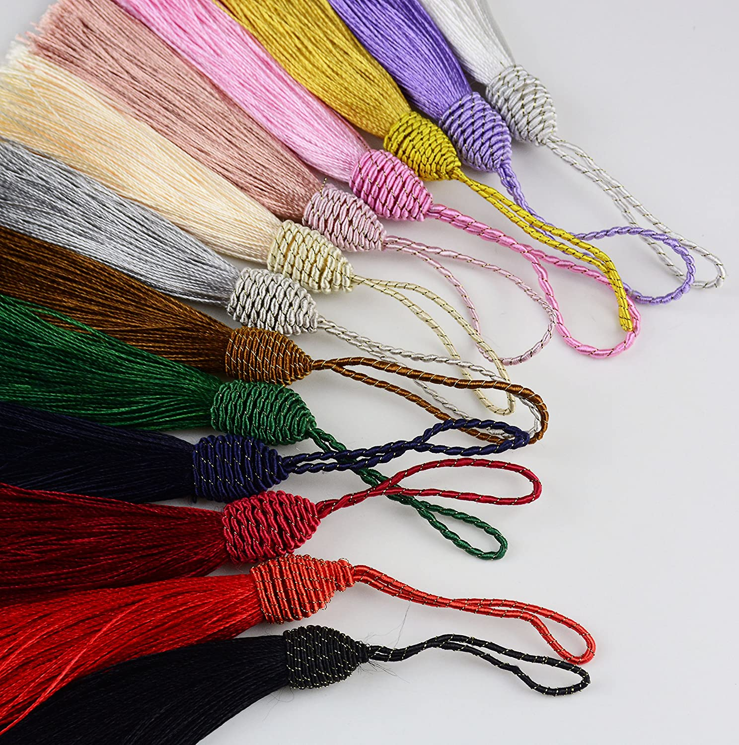 Makhry 52pcs 15.5cm//6 Inch Silky Floss bookmark Tassels with 2-Inch Cord Loop and Small Chinese Knot for Jewelry Making Mixed 13 Colors DIY Craft Accessory Bookmarks Souvenir