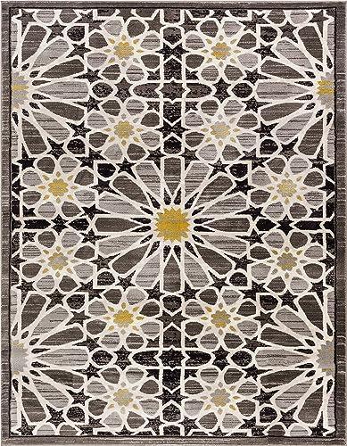 Carrara Floral Yellow Grey Mosaic Area Rug 4 x 6 3 11 x 5 3 Modern Geometric Tile