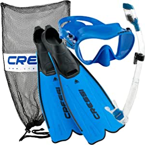 Cressi Premium Rondinella Full Foot Flippers - Impact Resistant Tempered Glass Mask Fin Snorkel Set with Snorkeling Gear Bag
