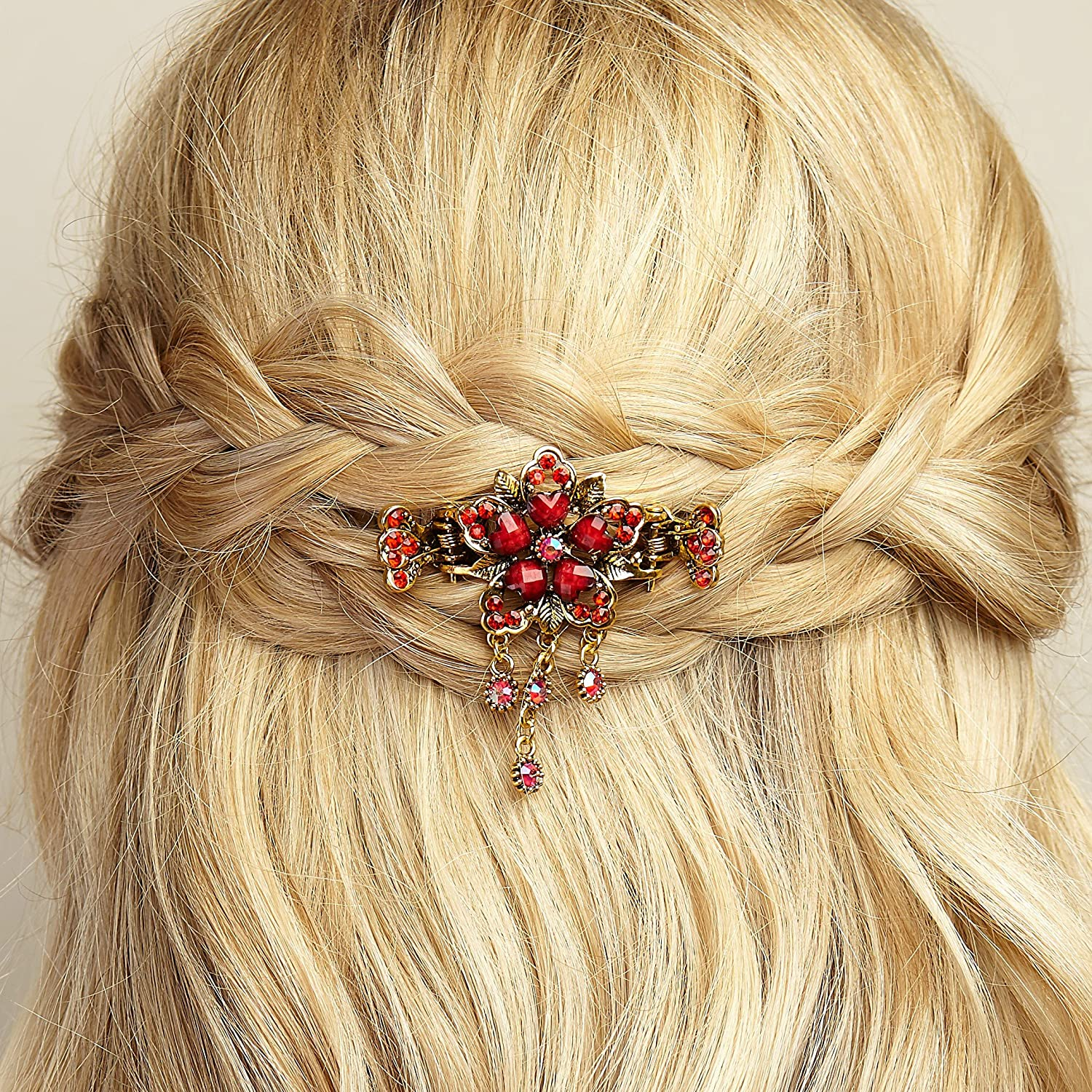 Small Flower Hair Clip Claw Gold Hair Claw Vintage Style Hairclip Rhinestone Crystal Hair Clasp by QueenMee (Red) Queen Bee Boutique