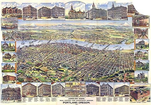 Los Angeles California 1894 Historic Panoramic Town Map 24x36