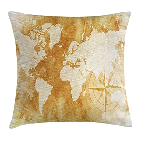 Amazoncom Compass Throw Pillow Cushion Cover By Ambesonne Old - Old time world map