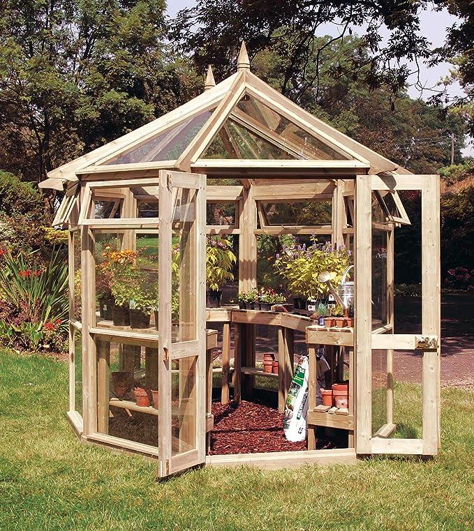 Invernadero de madera Edwardian en forma octogonal - 4 mm de ...