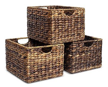 BirdRock Home Woven Storage Shelf Organizer Baskets With Handles | Set Of 3  | Abaca Wicker