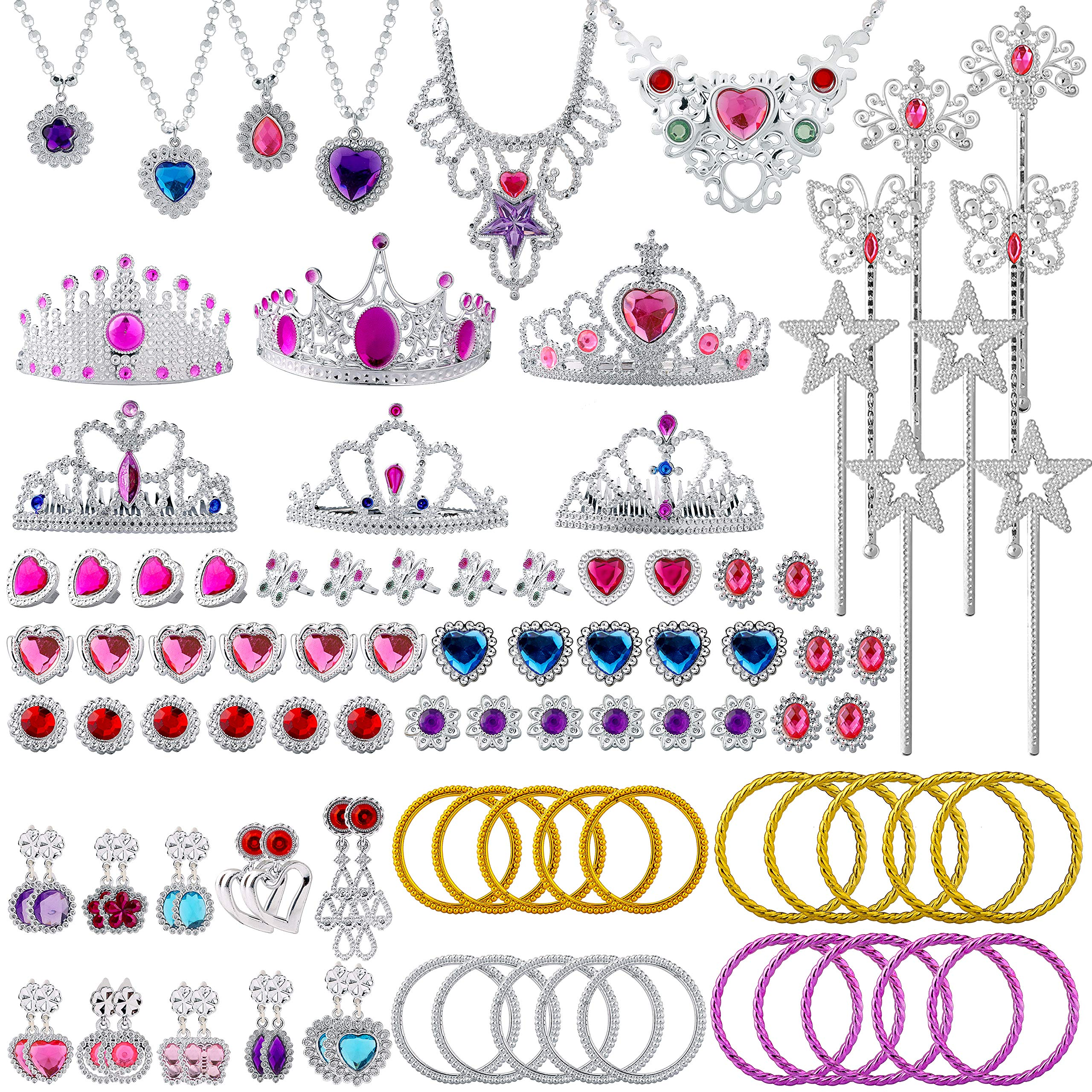 BeYumi 100 Pack Princess Pretend Jewelry Toy, Girl Princess Pretend Dress Up Set, Include Crowns, Necklaces, Wands, Rings, Earrings and Bracelets, Jewelry Gift Play Toys for Girls Kids Birthday Party