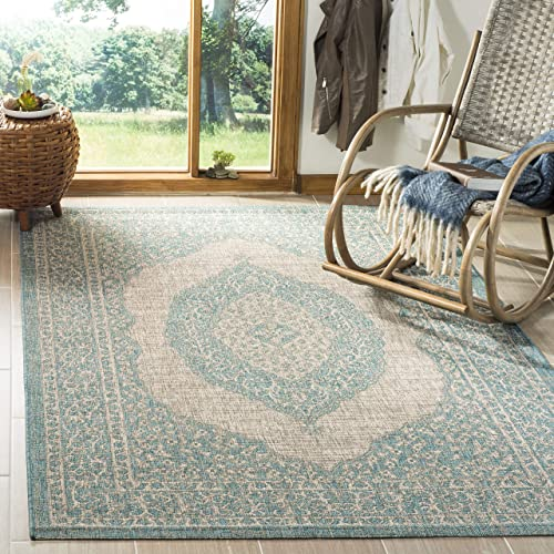 Safavieh Courtyard Collection CY8751-37112 Indoor Outdoor Area Rug, 5 3 Square, Light Grey Aqua