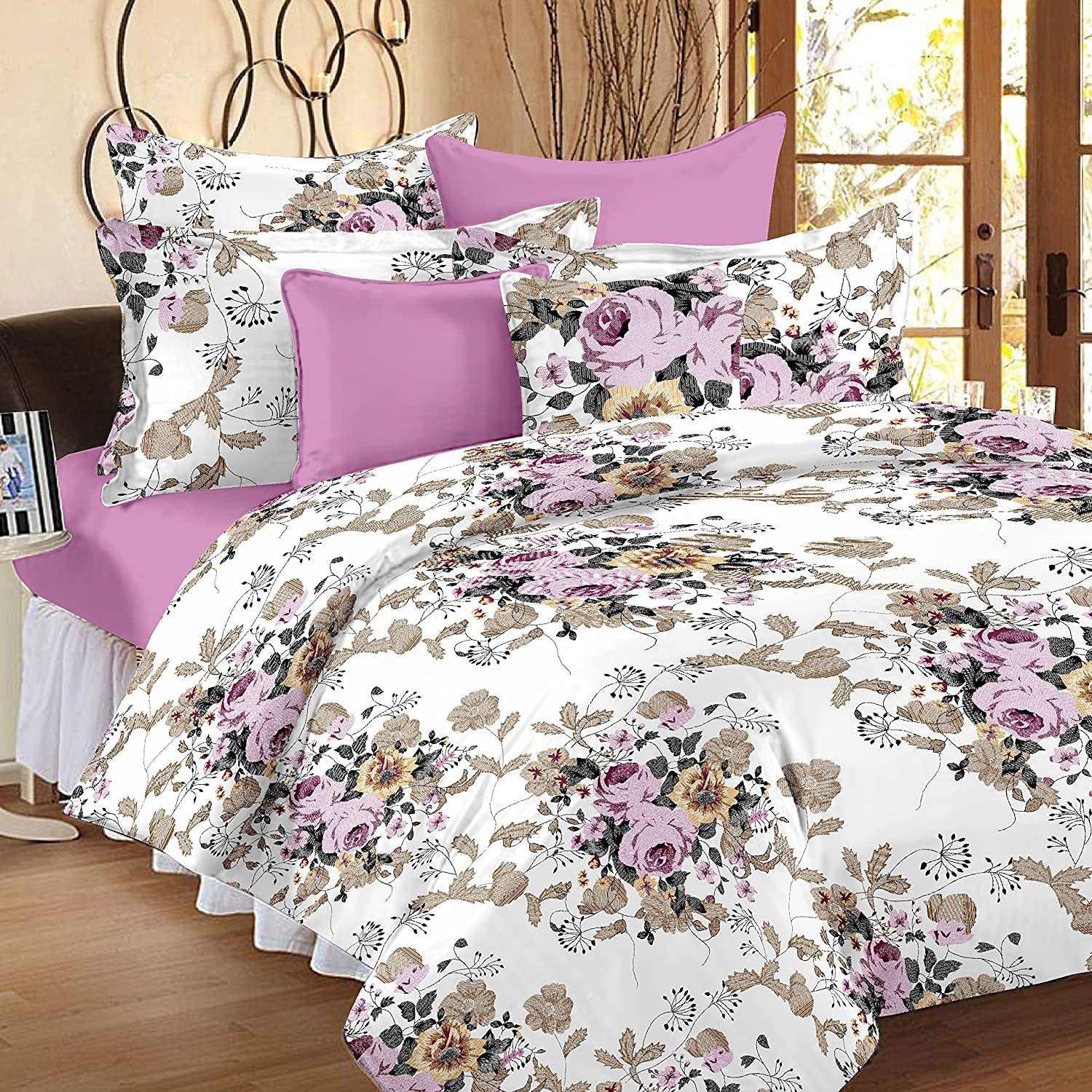Ahmedabad Cotton Comfort 160 TC Cotton Bedsheet With 2 Pillow Covers   King  Size, Pink: Amazon.in: Home U0026 Kitchen