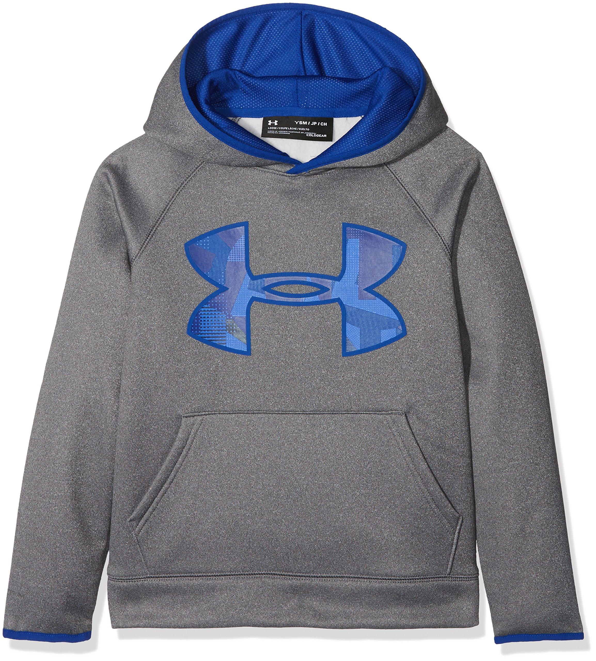 Under Armour Kids Boy's Armour Fleece Big Logo Hoodie (Big Kids) Graphite/Light Heather/Royal Royal Small