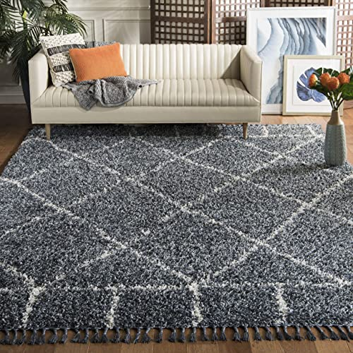 Safavieh PLX433L-8 Pro Lux Shag Collection PLX433L Cream and Blue Area 8' x 10' Rug