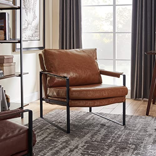 Art Leon Mid Century Modern PU Leather Accent Chair