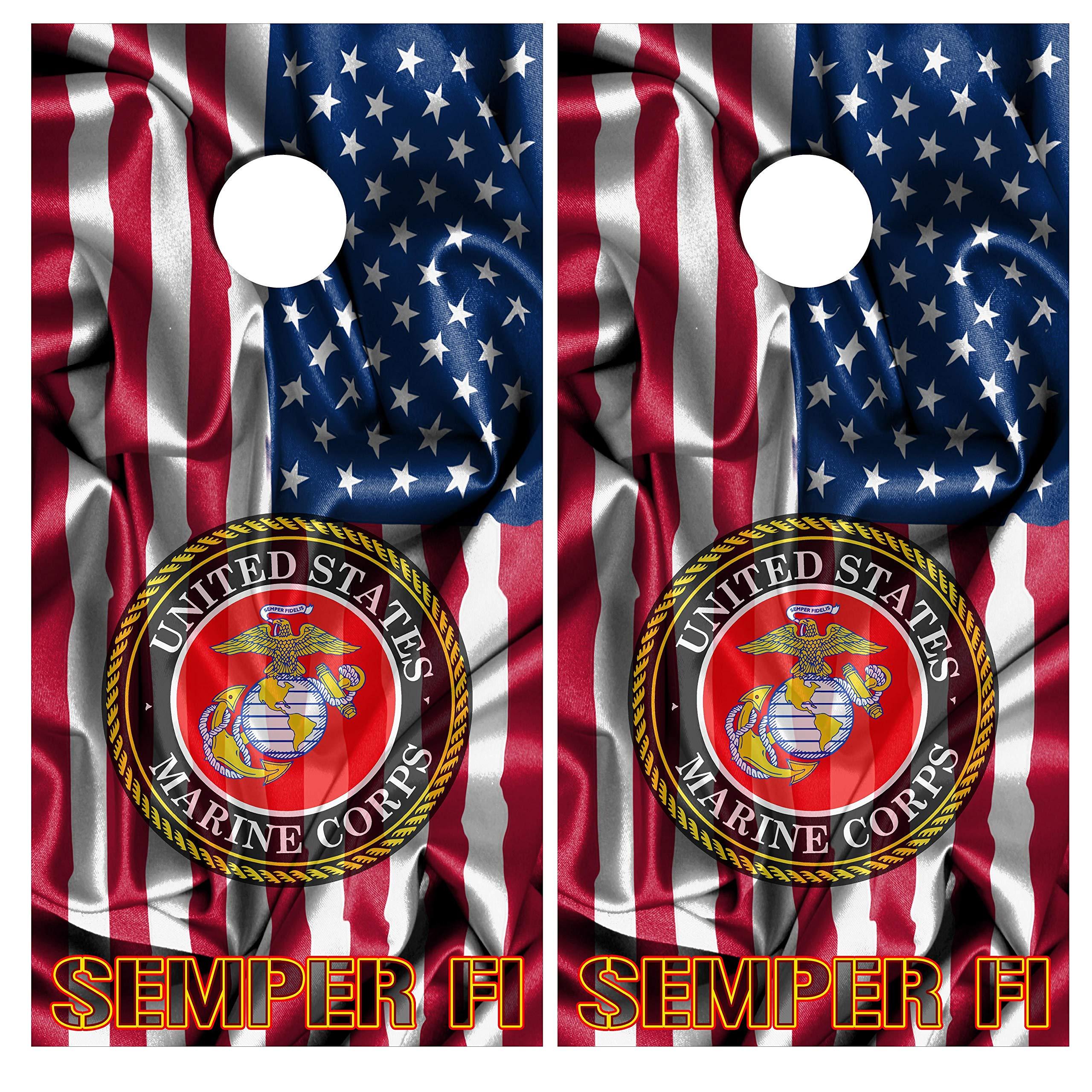 Cornhole Wraps USMC Marines Vinyl Decal Set Police LE by American Cornhole -