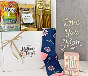 Mother's Day Gift Box Basket - Send Your Mother Mom Happy Wishes Today With a Bundle of 6 Items - Sweet Mug/Note Set, Sentimental Box Sign, Darling Socks, Love You Mom Towel, Coffee, and Tasty Treats!