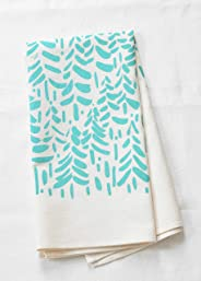 Modern Tea Towel, Organic Cotton, Hand Printed in Maine, Mint Green Print