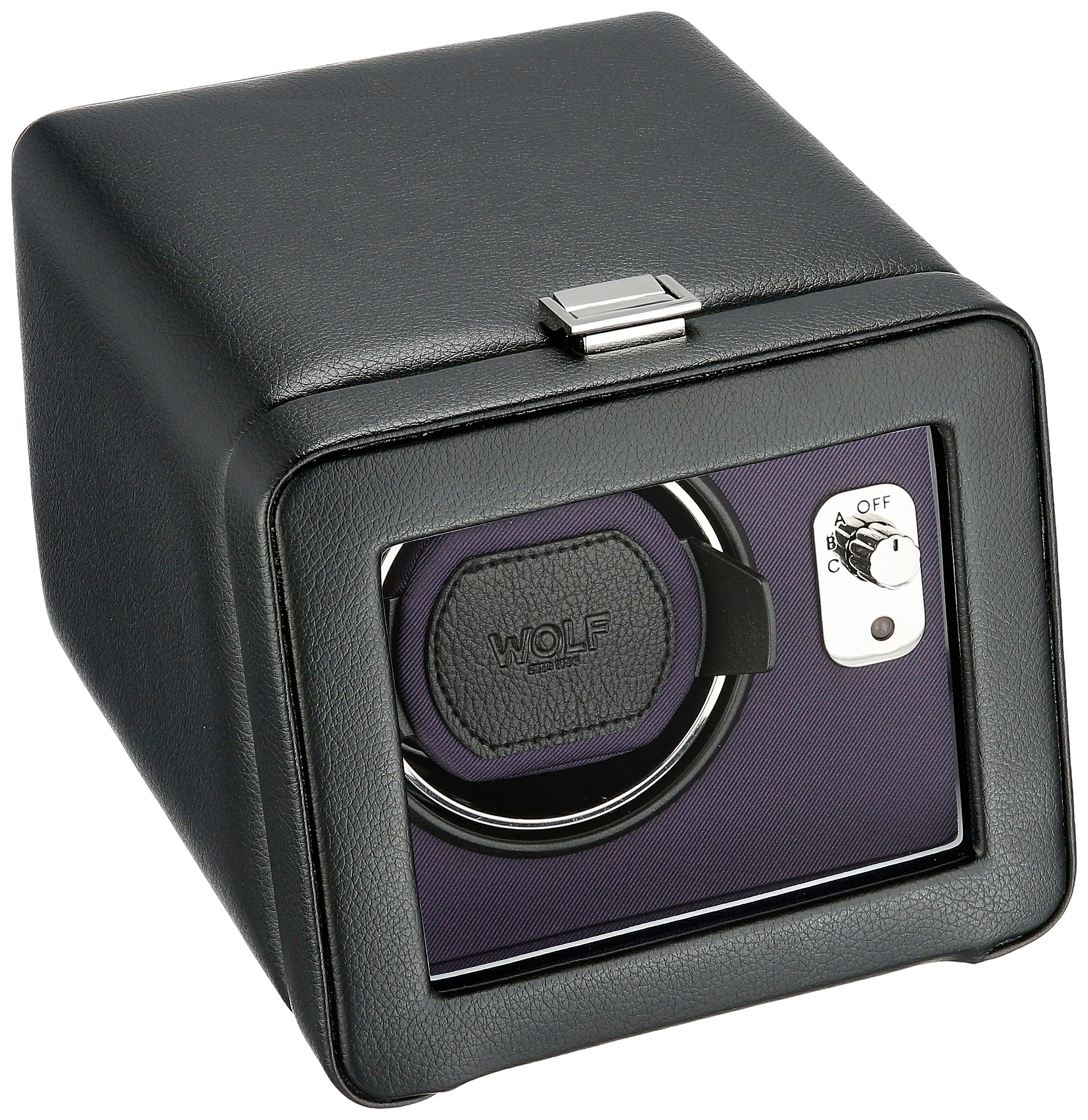WOLF 452503 Windsor Single Watch Winder with Cover, Black/Purple
