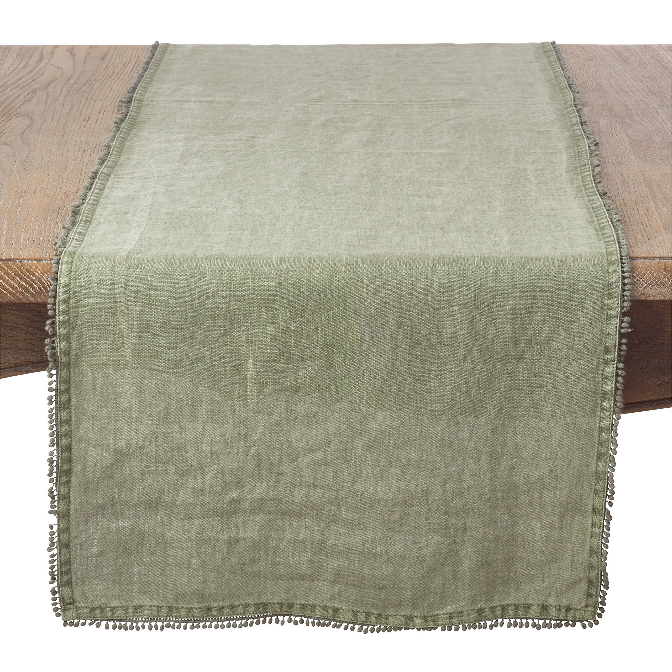 SARO LIFESTYLE Pomponin Collection 100% Linen Table Runner with Pompom Edges, 16'' x 72'', Olive