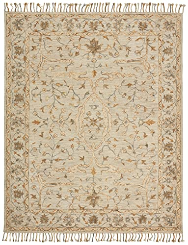Stone Beam Cooper Vintage Farmhouse Motif Wool Area Rug, 4 x 6 Foot, Charcoal and Beige