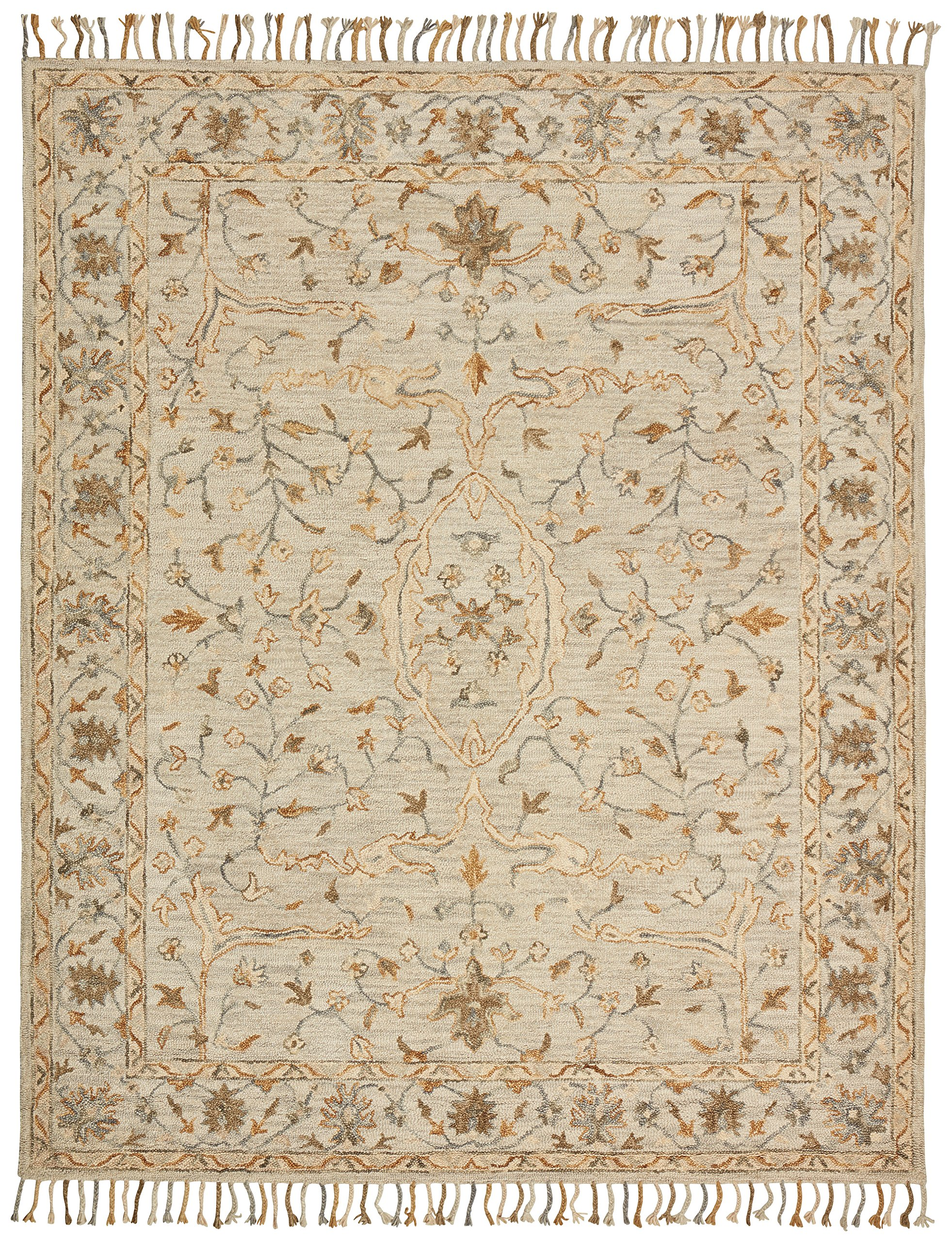 Stone & Beam Cooper Vintage Motif Wool Area Rug, 5' x 8' Charcoal and Beige by Stone & Beam