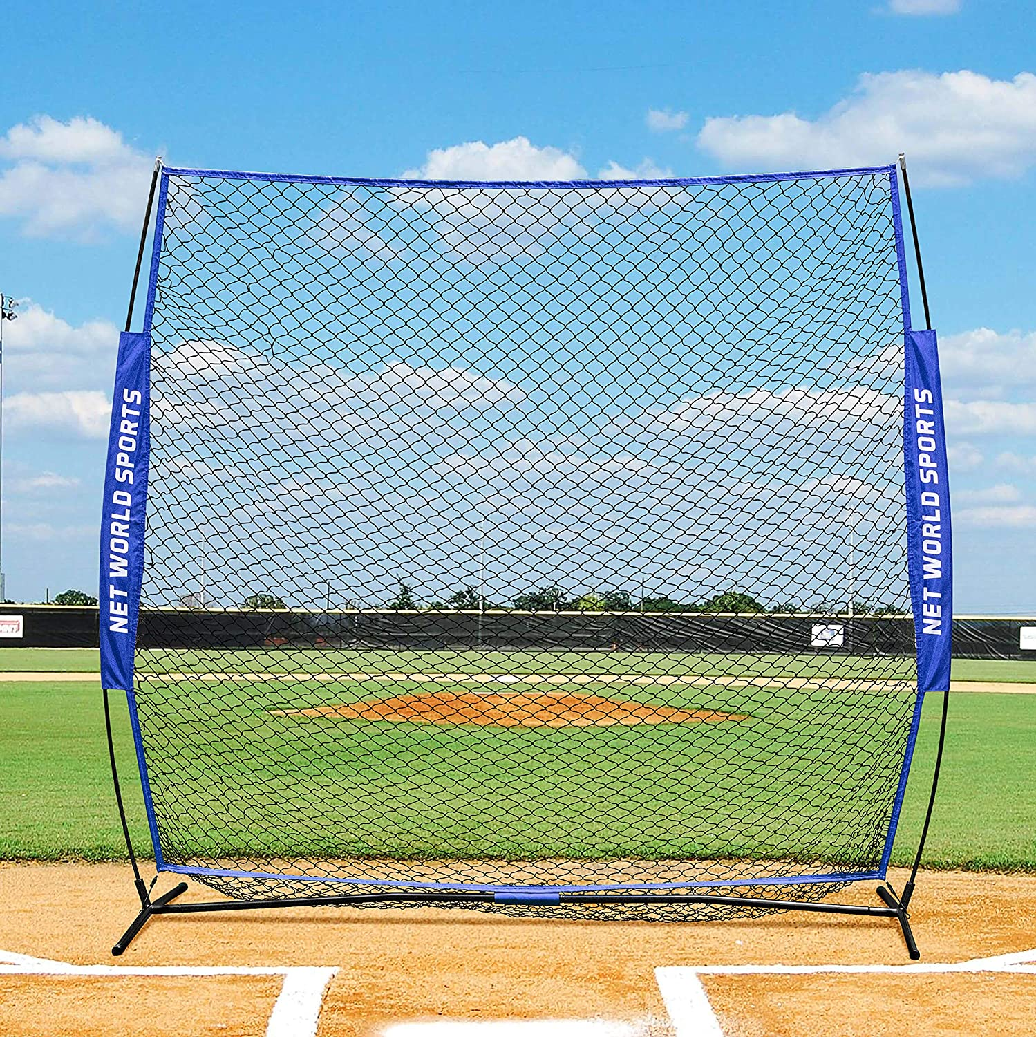 Net World Sports 7ft x 7ft Strong and Portable Baseball Protective Screen with Fiberglass Poles and Steel Base Pole Fortress Pop-Up Baseball Screen