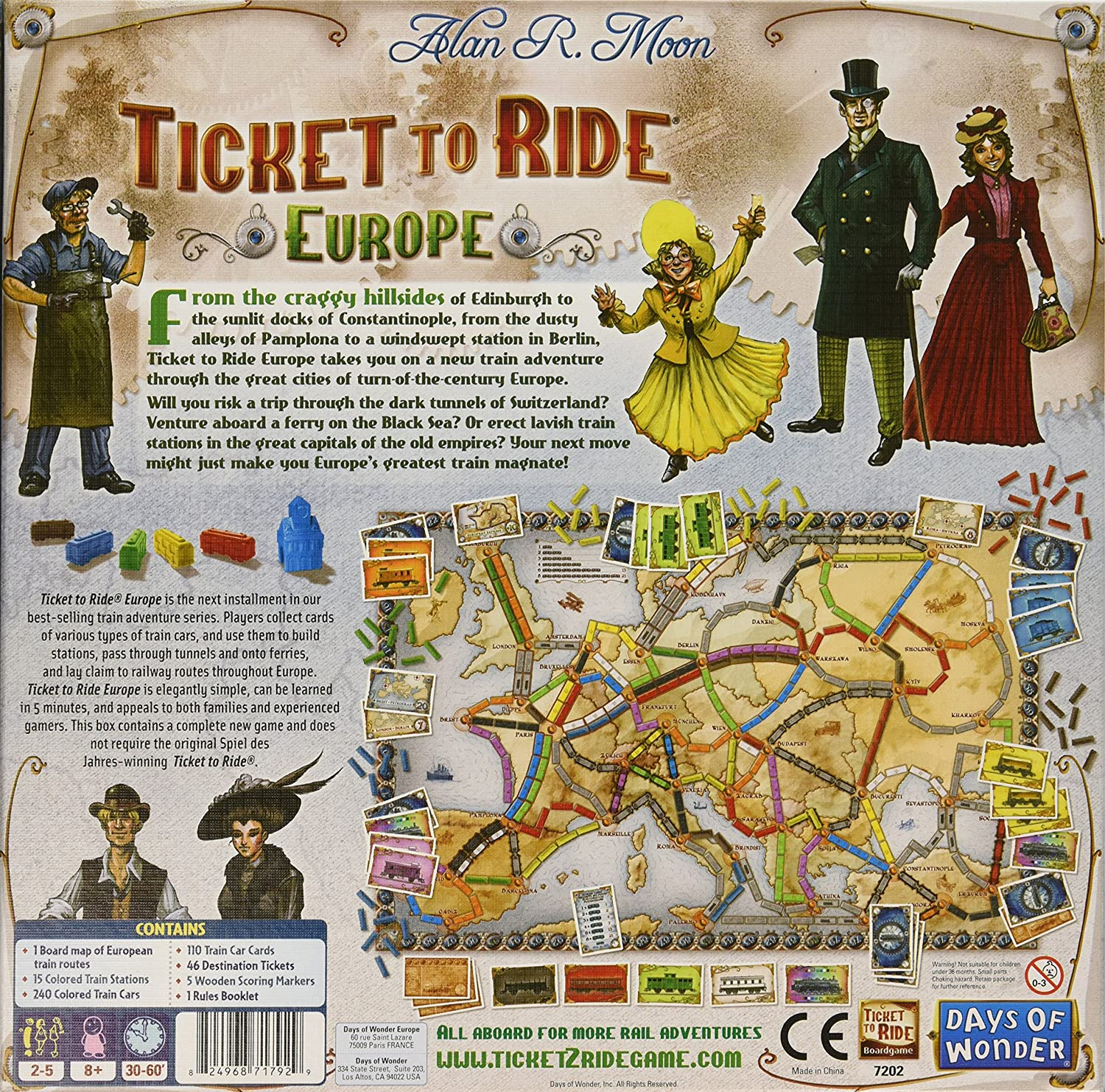 Ticket To Ride India Map.Amazon Com Ticket To Ride Europe Game Toys Games