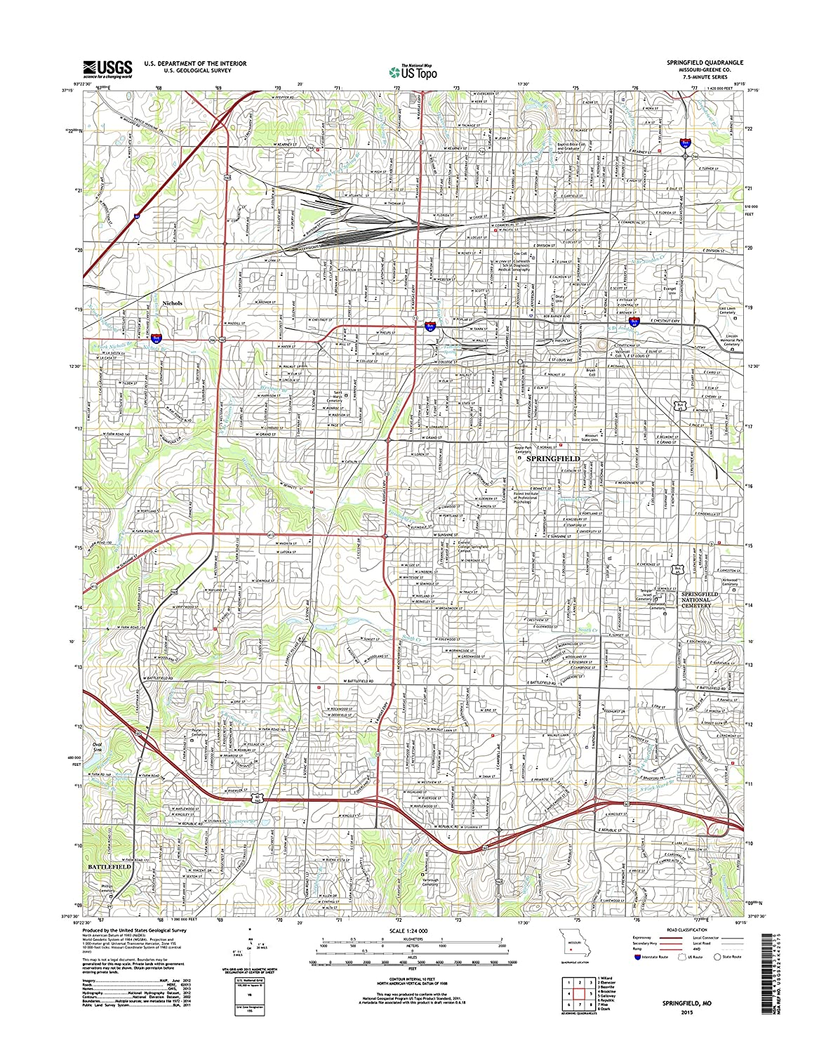 "Topographic Map Poster - SPRINGFIELD, MO TNM GEOPDF 7.5X7.5 GRID 24000-SCALE TM 2012, 19""x24"", Glossy Finish"