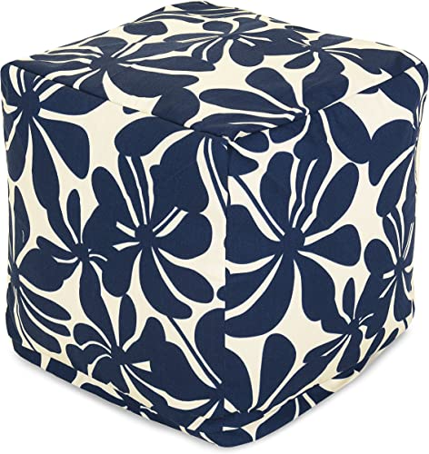 Majestic Home Goods Navy Blue Plantation Indoor/Outdoor Bean Bag Ottoman Pouf Cube 17″ L x 17″ W x 17″ H