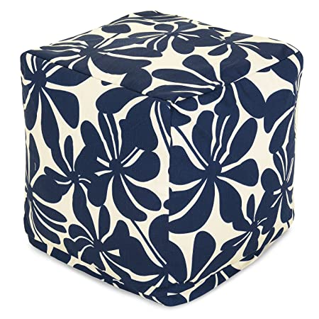 Majestic Home Goods Navy Blue Plantation Indoor Outdoor Bean Bag Ottoman Pouf Cube 17 L x 17 W x 17 H