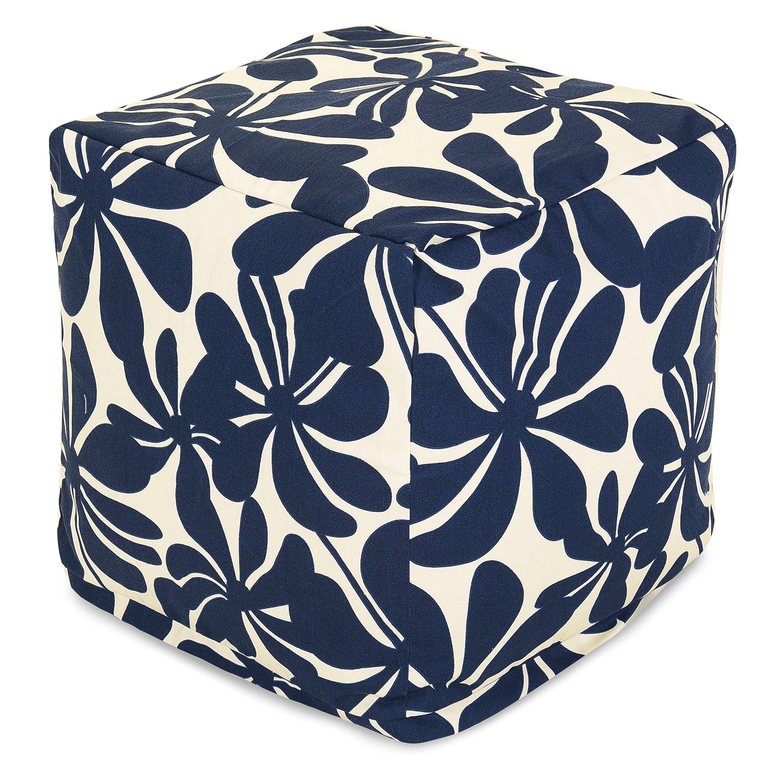 Majestic Home Goods Navy Blue Plantation Indoor/Outdoor Bean Bag Ottoman Pouf Cube 17'' L x 17'' W x 17'' H
