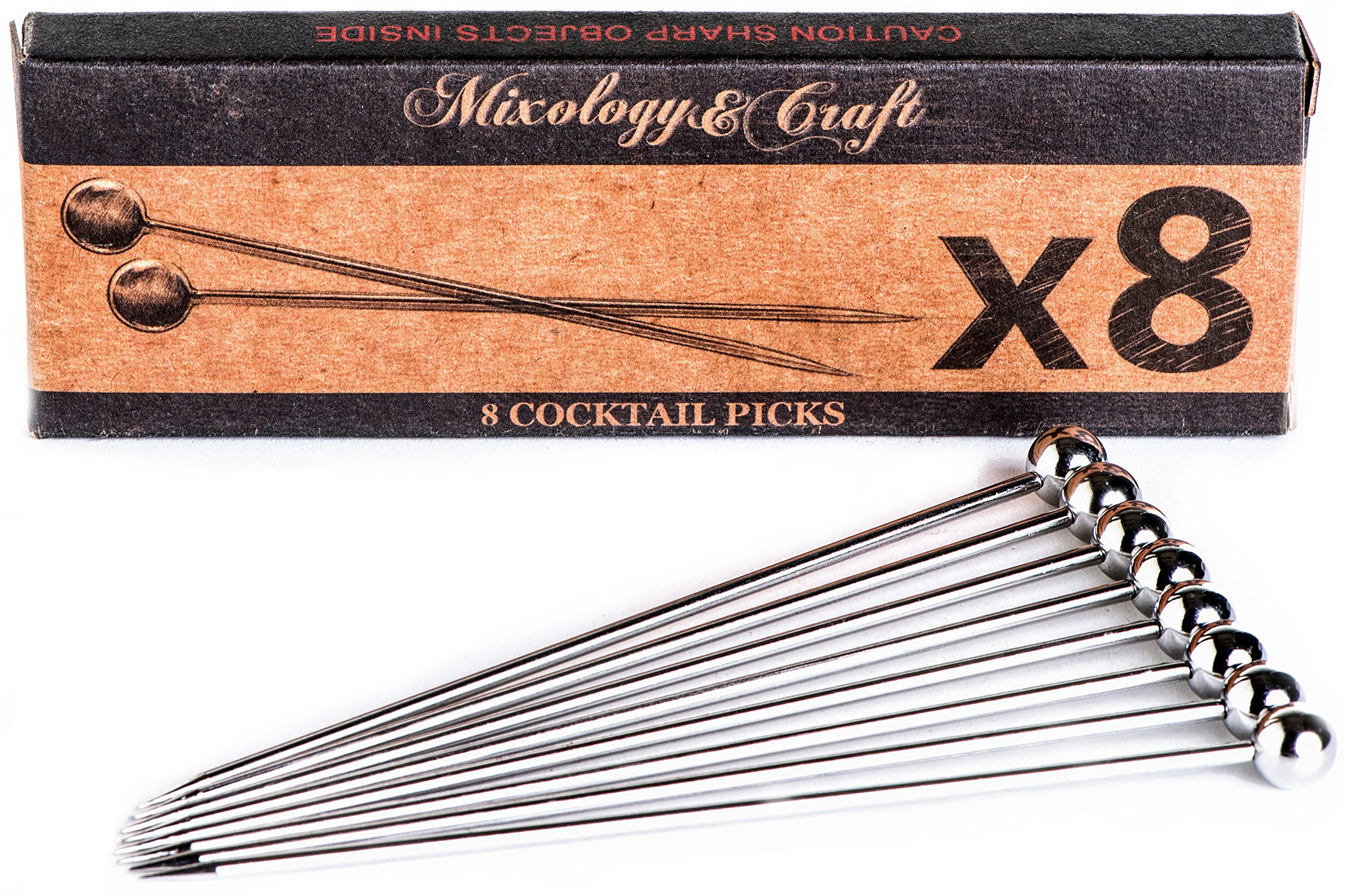 """Stainless Steel Cocktail Picks - 4"""" (8pc Set) - Reusable Martini Picks - Perfect for Olives and Food - Will Rest Beautifully in your Drinks While Holding a Sexy Garnish"""