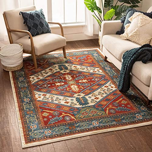 Well Woven Minda Red Traditional Medallion Area Rug 5×7 5 3 x 7 3