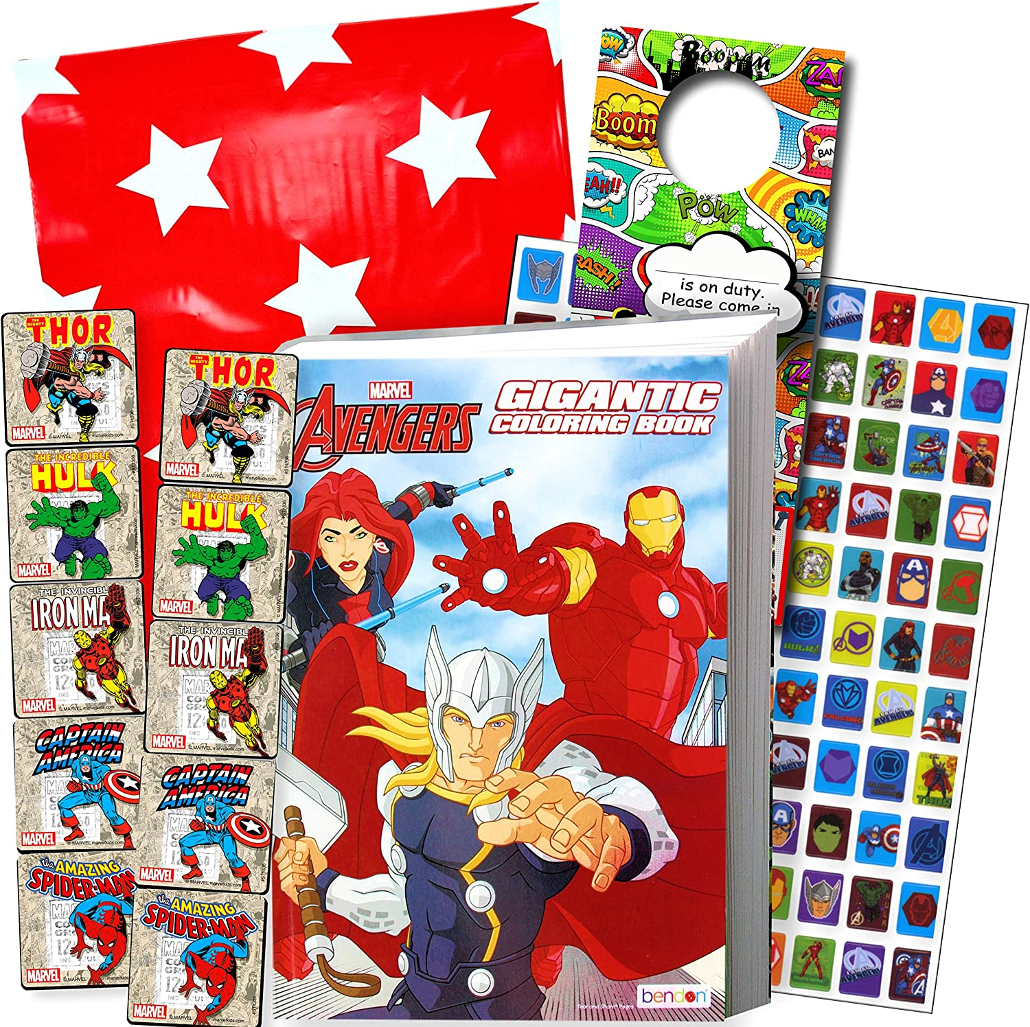 Disney Coloring Book and Stickers Gift Set - Bundle Includes Gigantic 192 pg Disney Coloring Book  Disney Stickers  and 2-Sided Door Hanger in Specialty Gift Bag  Gold Avengers
