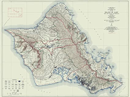image regarding Printable Map of Oahu named : Topographical Map Print - Oahu Hawaii - USGS